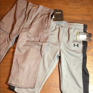 Under armor track pants & Hurley cargo pants